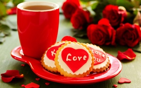 Picture love, flowers, holiday, tea, heart, roses, bouquet, cookies, Cup, love, heart, flowers, cup, holiday, bouquet, ...