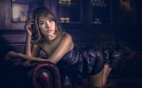 Picture look, sofa, portrait, leather