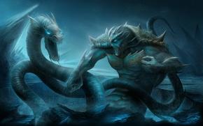 Picture sea, art, ice, Battle, TamplierPainter, sea monsters