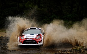 Picture road, squirt, background, Ford, skid, race, car, new Zealand, rally, WRC, Rally, Ford, Ford Fiesta, …