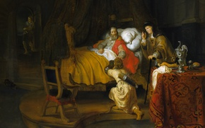 Picture picture, religion, mythology, Of gerbrand van den Eckhout, Isaac Blesses Jacob
