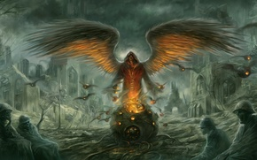 Picture wings, angel, The city, soldiers, ruins, undead, boiler