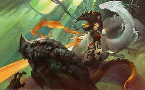Picture girl, dragon, Jian Guan