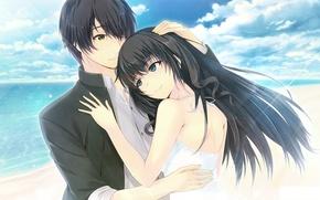 Picture two, pair, girl, art, guy, anime