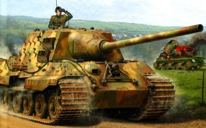Picture Figure, Jagdpanzer VI, Heavy, Hunting tiger, SPG, Ausf. B, 12.8cm PaK44, Tank destroyers, Sd.Car.186, on ...