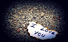 Picture love, paper, stones, earth, the inscription, love, letter, feeling