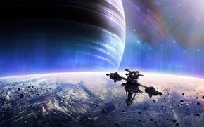 Picture stars, planet, space station