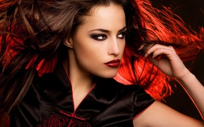 Picture look, girl, makeup, lips, red hair, brown-eyed
