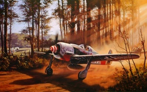Picture war, art, ww2, dogfight, fw 190, painting. drawing