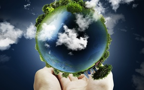 Picture grass, clouds, trees, earth, planet, hands