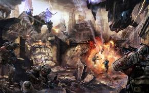 Picture soldiers, destruction, sci fi battle, heavy weapons, protective equipment, firearms