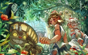 Picture forest, anime, art, girl