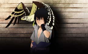 Picture bird, naruto, art, hawk, Sasuke, мangekyou sharingan