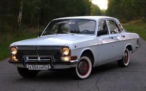 Picture road, retro, background, Wallpaper, USSR, Volga, Volga, Gas 24