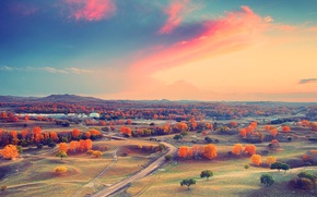 Wallpaper autumn, the sky, clouds, trees, sunset, mountains, home, valley, horizon