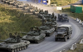 Picture road, trucks, war, The Caucasus, Tanks, T-72, a column of tanks