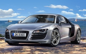Picture Audi, Audi, silver, art, supercar, sports, power, model., four-wheel drive, mid-engined, German, to accelerate, allows, …