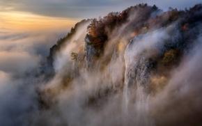 Wallpaper nature, fog, mountain