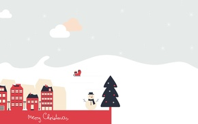 Wallpaper New year, snowman, tree, Merry Christmas