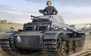 Picture figure, art, PzKpfw II, Panzerkampfwagen II Ausf. J, German light tank of world war II, …