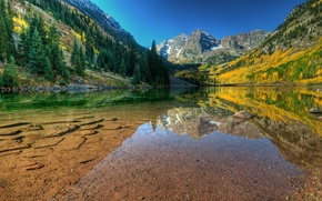Picture autumn, water, transparency, lake, stones, mountain