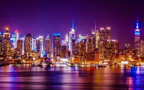 Picture night, the city, lights, skyscrapers, panorama, skyline, WTC, New York city, Hudson river, city skyline