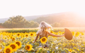 Picture girl, sunflowers, hat