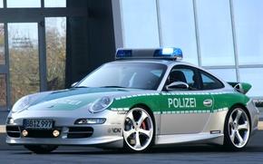 Wallpaper machine, police, Porsche