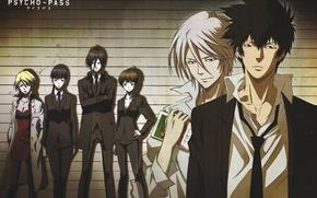 Picture wall, costume, tie, Bathrobe, white shirt, black suit, Ginoza Nobuchika, Psycho-pass, Akane, Shinya Kougami, Shougo …