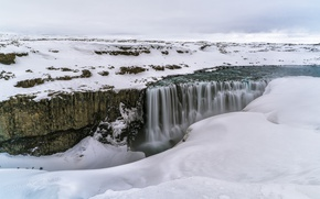 Picture winter, snow, river, waterfall