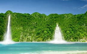 Picture greens, the sky, Waterfall
