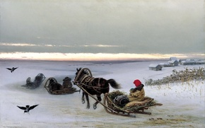Wallpaper sleigh, picture, canvas, Georgian, crows, snow, winter, home, painting, horse, people, home, sunset