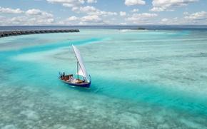 Picture Islands, the ocean, boat, sail, resort, Laguna, fantastic Maldives, fiction
