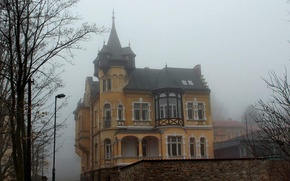 Picture autumn, the city, fog, house