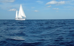 Picture sea, the sky, sailboat, yacht