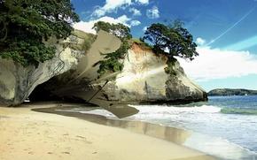 Picture sand, wave, shore, Cave
