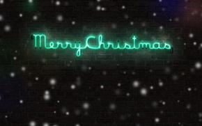 Wallpaper Xmas, holiday, merry christmas, wall, snow, winter, Christmas, brick, the inscription