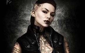 Picture girl, tattoo, art, tattoo, Mass Effect 3, Jack, Jack