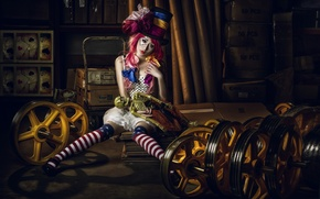 Picture girl, mood, hat, doll, circus, Asian, cylinder, clown