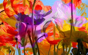 Picture line, flowers, rendering, paint, petals, stem