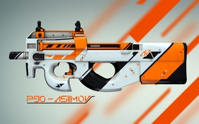 Wallpaper P90, skin, asiimov, global offensive, counter strike, cs:go