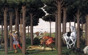 Picture dog, picture, genre, mountains, mythology, trees, people, sea, Sandro Botticelli, History Nastagio Degli Onesti (II), ...
