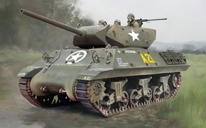 Picture figure, art, USA, tank fighter, PT-ACS, anti-tank self-propelled artillery, 3-in. Gun Motor Carriage M10