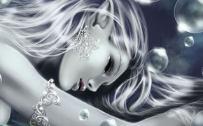 Picture girl, bubbles, decoration, pointy ears, closed eyes