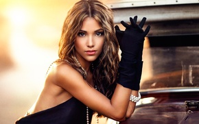 Wallpaper makeup, gloves, Maggie, sponge, brown-eyed, Alessandro Di Cicco
