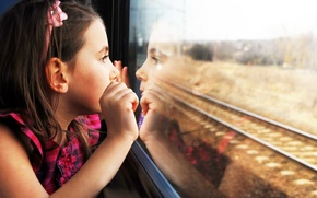 Picture children, reflection, sadness, child, cute, sadness, child, reflection, cute, children, lonely, lonely, train window, the ...