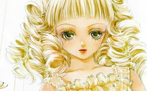 Picture face, eyelashes, rhinestones, art, curls, visual novel, chigusa, dolly kiss