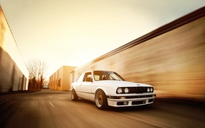Picture BMW, speed, BMW, white, tuning, bbs, E30