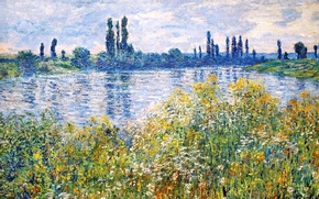Picture Claude Monet, picture, flowers, trees, the sky, grass, river, landscape