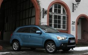 Picture Snow, House, Wallpaper, Blue, Mitsubishi, Japan, Car, Auto, Blue, Wallpapers, Mitsubishi, The European version, EU-Spec, …